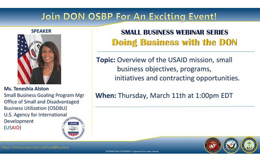 Ms. Teneshia Alston, Small Business Goaling Program Manager, USAID Office - DON OSBP Small Business Webinar Series USAID March 11, 2021