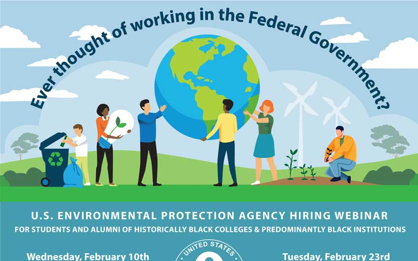 EPA Hiring Webinar For HBCUs and  Predominantly Black Institutions Flyer 2-2021